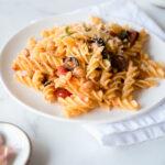 Small plate of fusilli pasta with tomato sauce