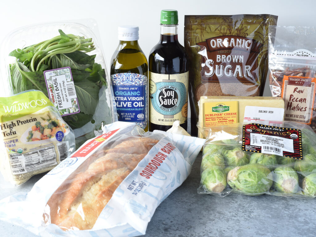 Collection of groceries on the counter all from Trader Joes