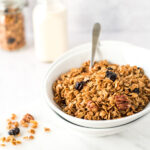 Bowl of granola with spoon