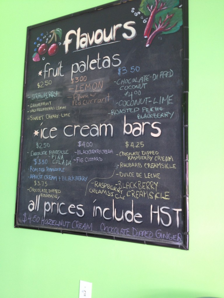 Fruition Paleta Menu