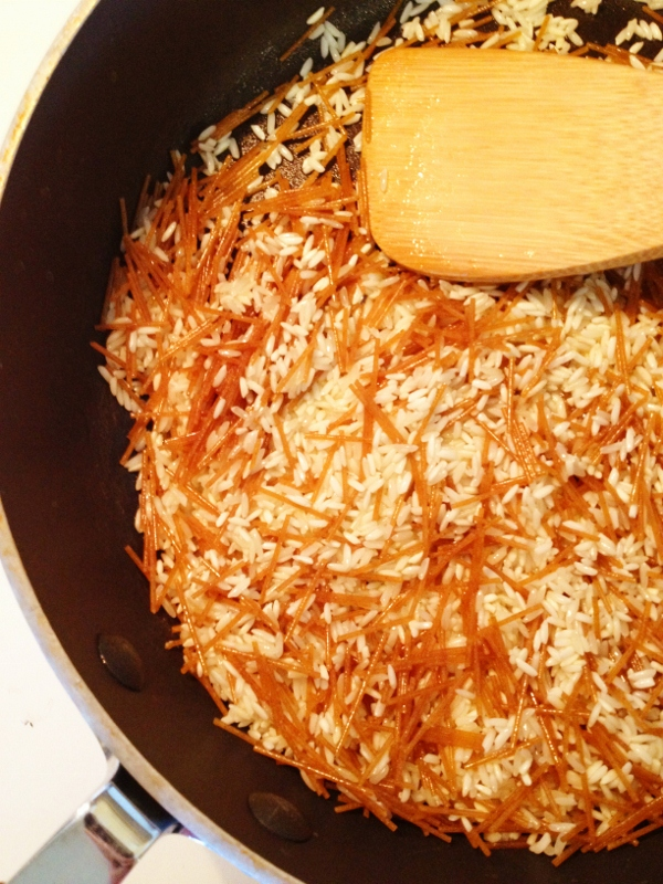 Rice A Roni in the skillet