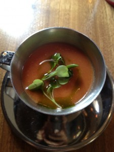 Chilled Tomato Soup with Basil Oil