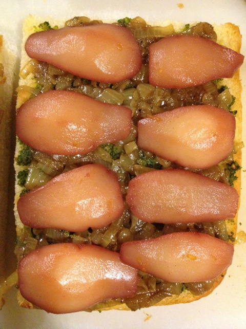 Focaccia with pesto and poached pears
