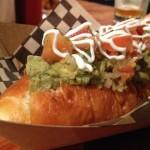Vegetarian hot dog at Po Dog