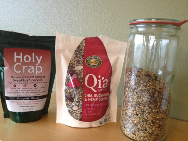 Holy Crap, Qi'a, Homemade cereal side by side
