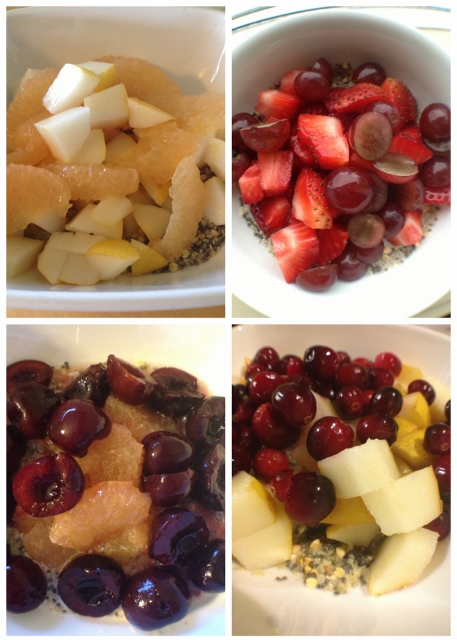 Collage of 4 bowls of cereal with different fruits