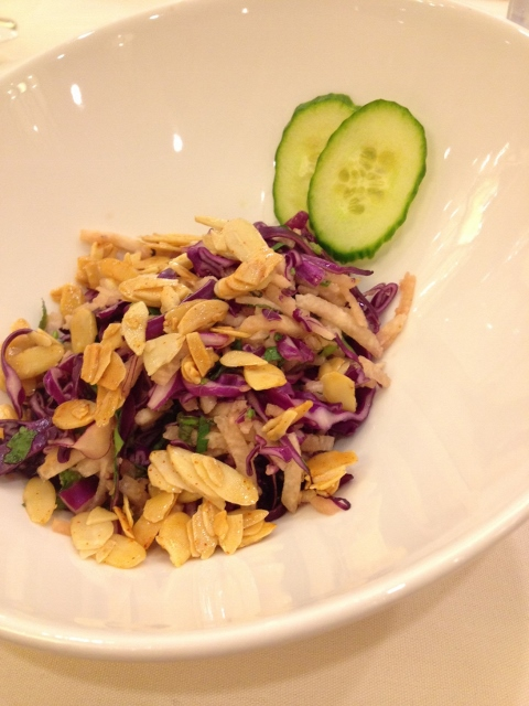Coleslaw in bowl with garnish