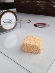 Toasted coconut vegan marshmallow on glass
