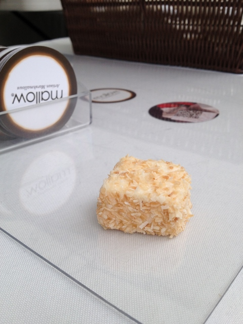 Toasted coconut vegan marshmallow on glass