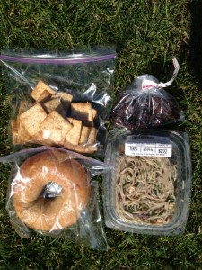 Whole grain bagel, whole wheat crackers, dried cherries, pasta salad