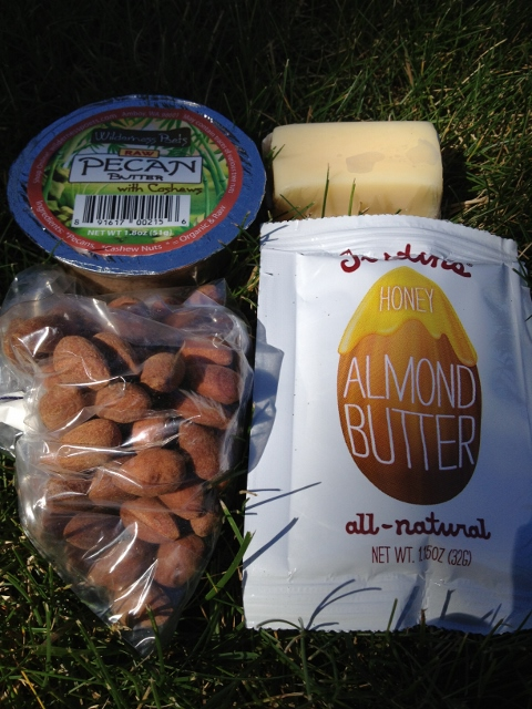 Amonds, cheese, almond butter, raw walnut butter