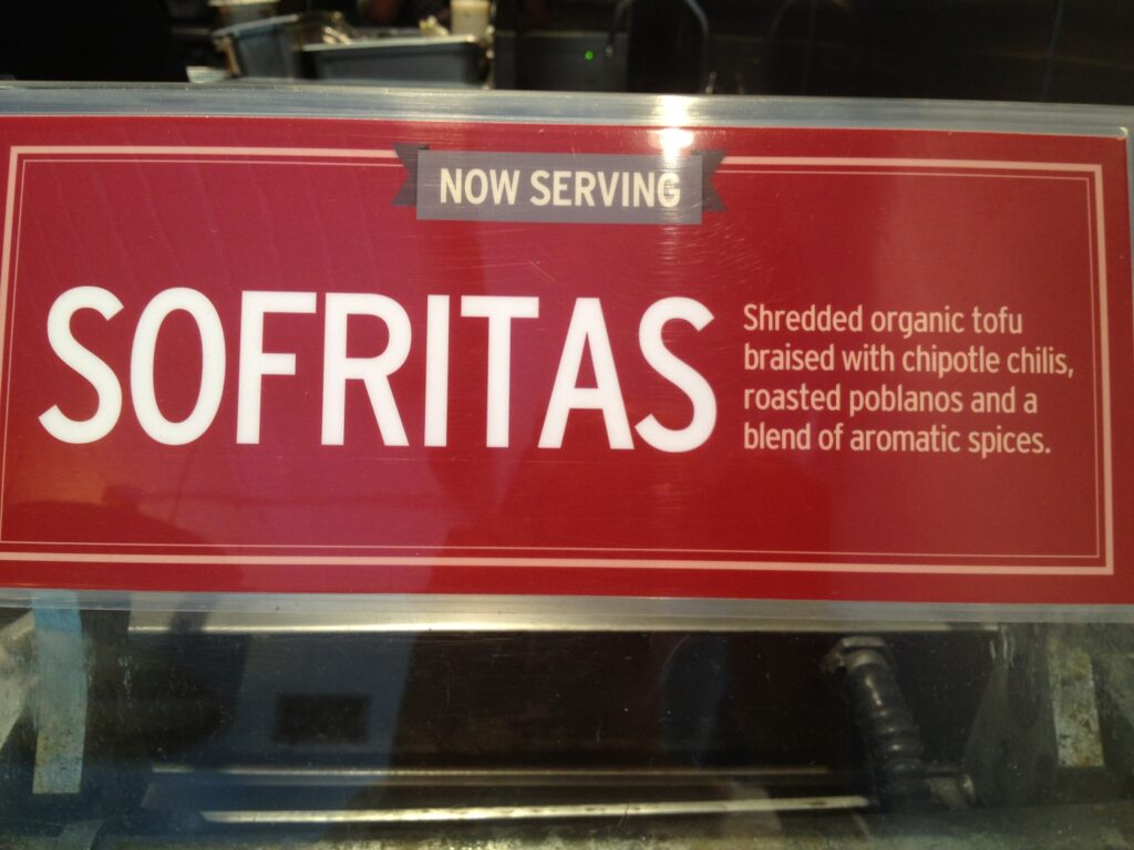 Sofritas sign at Chipotle