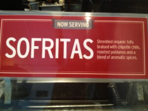 Sofritas sign at Chipotle