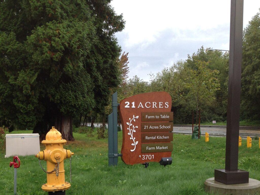 Sign outside 21 Acres Farm