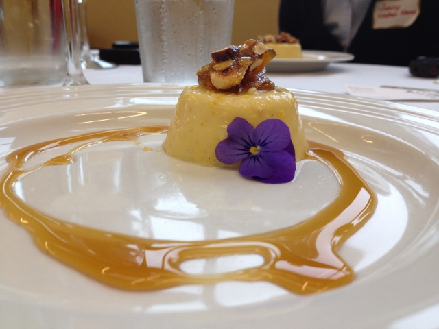 Winter squash panna cotta, spiced cider gastrique and hazelnut brittle