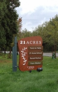 Sign at 21 Acres