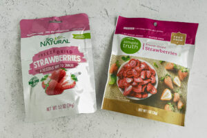Two bags of freeze dried strawberries