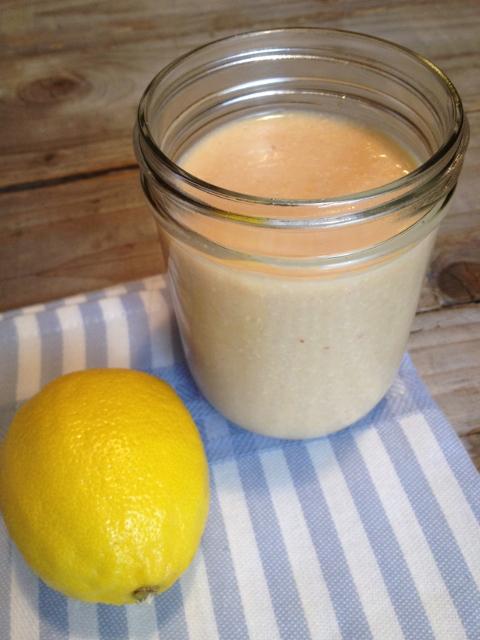 Peach Lemon Cream Smoothie in Mason Jar with Lemon