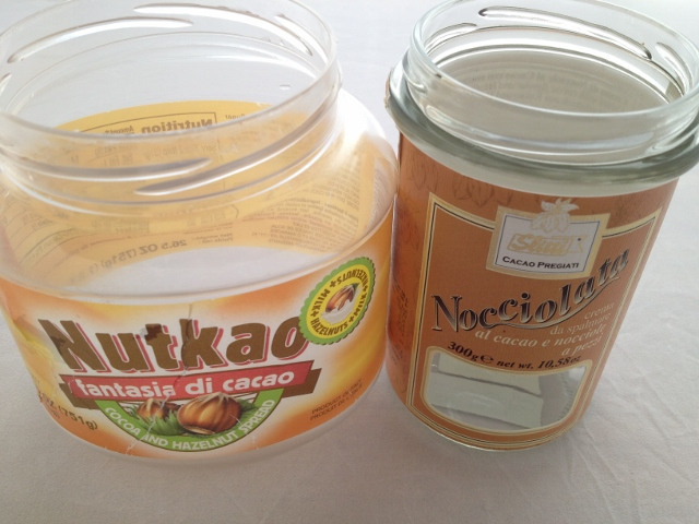 Jars of Nutkao and Slitti Nocciolata