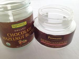 Jars of Rapunzel Chocolate Hazelnut Butter and Pernigotti Nero Gianduia