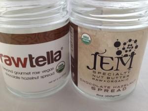 Jars of Rawtella and Jem Chocolate Hazelnut Spreads
