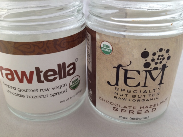 Jars of Rawtella and Jem Chocolate Hazelnut Spreads