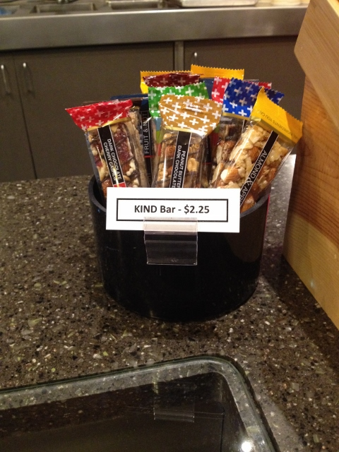 A crock full of KIND bars at the PIckford Theater