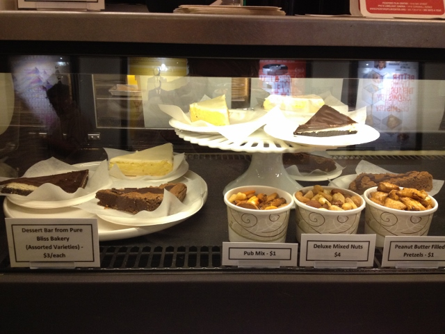 Brownies, pretzels and desserts in the Pickford's display case