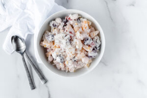 Top down view of a bowl of ambrosia salad