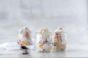 Three jars of ambrosia salad