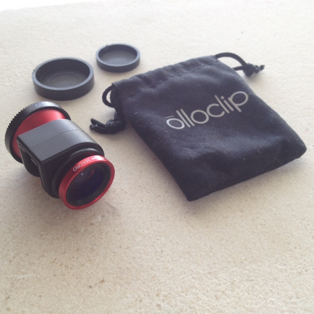 olloclip lens, lens caps and bag