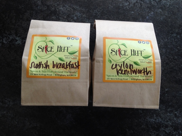 Bags of tea: Scottish Breakfast and Ceylon Kenilworth