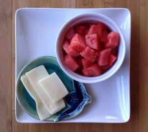 1 cup watermelon and 1 ounce mozzarella cheese