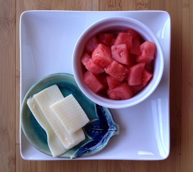 1 cup watermelon and 1 ounce mozzarella cheese