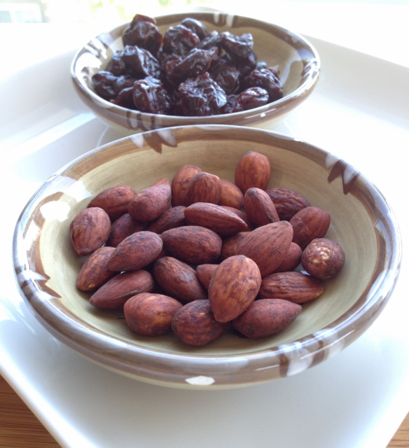 1/3 cup dried tart cherries and 1 ounce tamari almonds