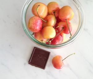 Fresh cherries and salted dark chocolate
