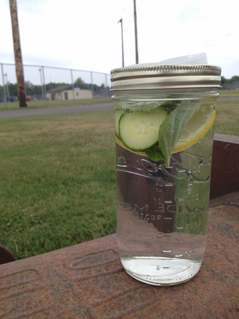 Lemon Basil Cucumber Water with Cuppow Lid