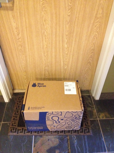 Blue Apron dinner kit on my doorstep