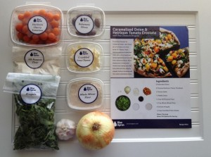 Blue Apron ingredients and recipe card
