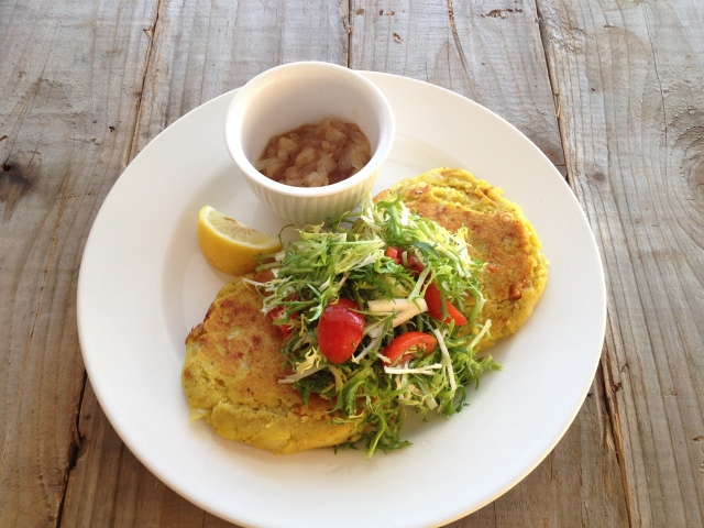 Potato Rosti with Frisee Salad and Tamarind Chutney