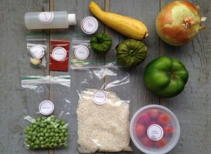 Summer Vegetable Paella ingredients