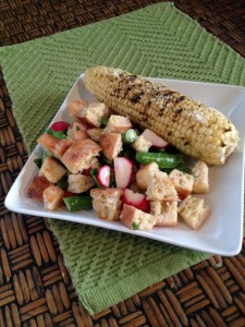 Grilled Mexican Corn with Summer Bread Salad