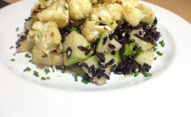 Apple Sesame Forbidden Rice with Miso Cauliflower