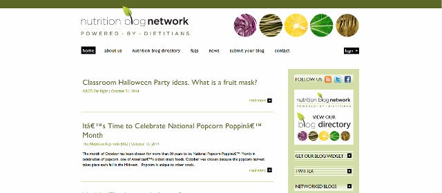 Nutrition Blog Network main page