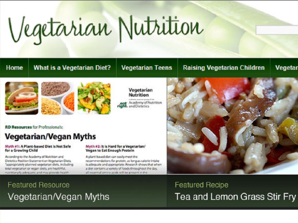 Screenshot of a vegetarian nutrition website