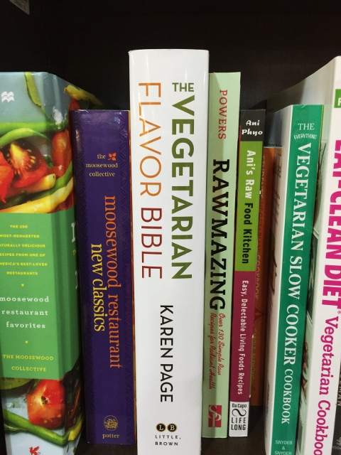 Vegetarian cookbooks on the shelf