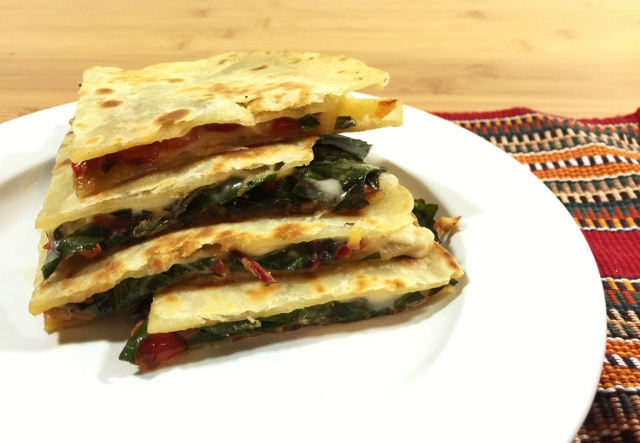 Chard pepper quesadillas