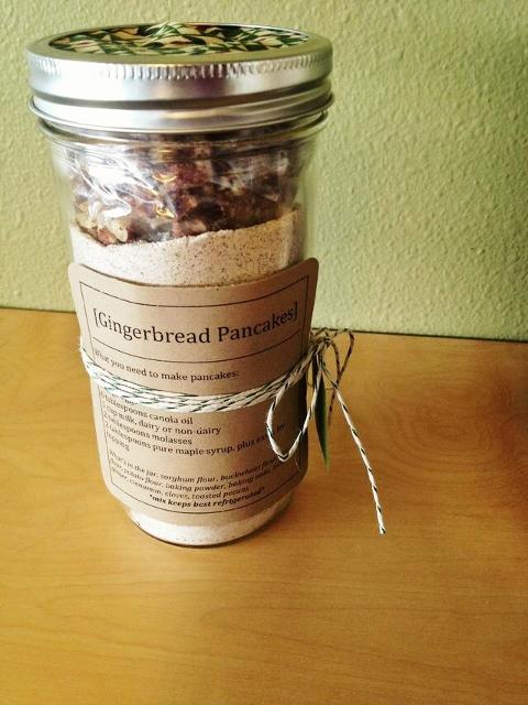 Gingerbread pancake mix in a jar
