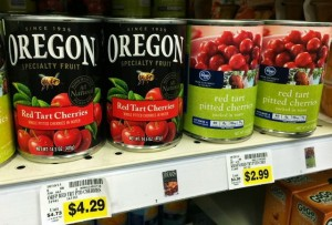 Canned tart cherries