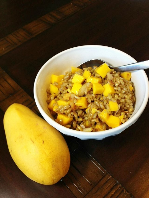 Coconut mango barley breakfast